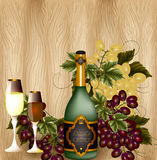 Composition with wine and grapes on hardwood background Stock Photos