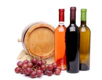 Composition of wine, wooden barrel and grape Stock Photo