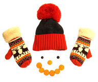 Composition of a winter hat, and smiles vareshek carrot Stock Photo