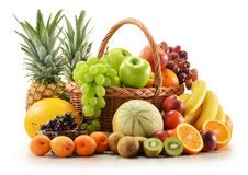 Free Composition With Assorted Fruits In Wicker Basket Stock Photo - 25380950