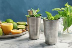 Free Composition With Delicious Mint Julep Cocktai Stock Photos - 117672213