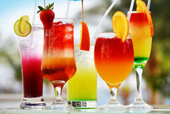 Composition With Five Glasses Of Drinks Stock Photography
