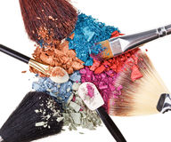 Composition With Makeup Brushes And Eye Shadow Royalty Free Stock Image