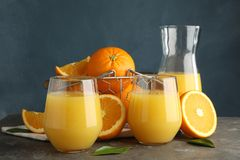 Free Composition With Orange Juice And Fresh Fruit Royalty Free Stock Photo - 141108305