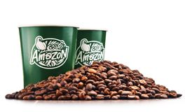 Free Composition With Paper Cups Of Cafe Amazon And Beans Royalty Free Stock Photo - 110141005