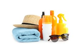 Free Composition With Sun Protection Products On White Background. Stock Image - 139421761