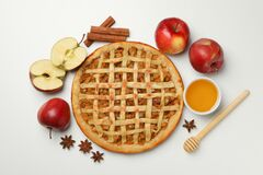 Free Composition With Tasty Apple Pie On White Background Top View Royalty Free Stock Photo - 184177915