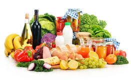 Composition With Variety Of Grocery Products On White Stock Image