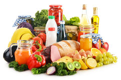 Composition With Variety Of Grocery Products On White Royalty Free Stock Images
