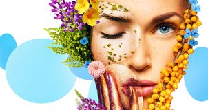 Composition of women portraits with berries and flowers royalty free stock images