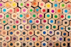 Composition wooden colour pencils background Stock Images