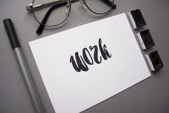 Composition with word `work` written in calligraphy style Royalty Free Stock Photo