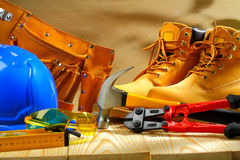 Composition of working tools on  wooden boards Stock Photos