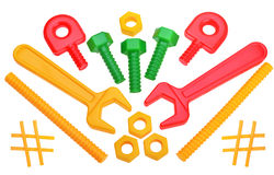 Composition with wrench gudgets and elements Stock Photo