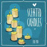 Composition with yellow burning candles. Blue background. Cartoon hand draw style. Lettering inscription Scented Candles For You Royalty Free Stock Photography