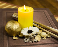 Composition of yellow candle  Stock Photo