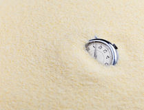 Composition on Zen garden - sand, and watch Stock Photo