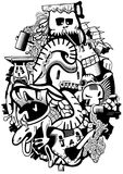 Compositional sketch story of the unbeaten monsters. Illustration. Royalty Free Stock Photos