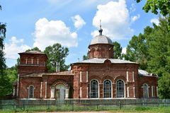 Compositionally, the building of St. Nicholas Church consists of a Church with an apse, a refectory and a bell tower, complicated. On the sides by two tents stock photo