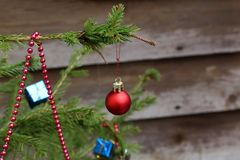 Compositions from a Christmas tree decoration in the winter forest.  royalty free stock images