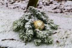 Compositions from a Christmas tree decoration in the winter forest. Compositions from the Christmas tree toy in winter forest royalty free stock photo