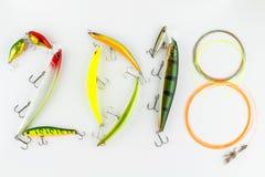 Compositions en bonne année 2018 avec des attraits de pêche et des lignes de pêche image libre de droits