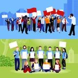 Compositions en personnes de protestation de démonstration illustration libre de droits