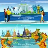 Compositions en voyage de la Thaïlande et du Singapour illustration libre de droits