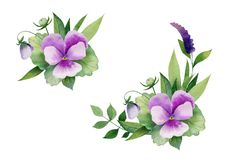 Compositions of flowers and leaves stock illustration