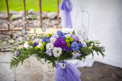 Compositions of flowers at the wedding Stock Photos