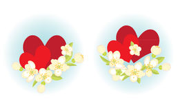 Compositions with hearts. Two compositions with hearts and spring flowers Stock Images