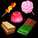 Compositions of sweets, five different icons Stock Photography