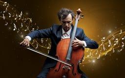 Compositor solo que juega en el violoncelo Fotografía de archivo libre de regalías