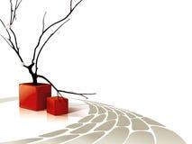Composizione astratta con i cubi rossi illustrazione di stock