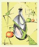 Composizione astratta con la brocca d'argento royalty illustrazione gratis