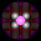 Composizione astratta di colore degli elementi openwork su una parte posteriore del nero Immagini Stock Libere da Diritti