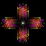 Composizione astratta di colore degli elementi openwork su una parte posteriore del nero Fotografia Stock