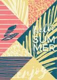 Composizione astratta in estate con struttura d'annata disegnata a mano e gli elementi geometrici Fotografia Stock