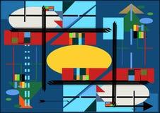 Composizione astratta, forme geometriche operate su stile blu di arte di espressionismo del fondo Fotografia Stock Libera da Diritti