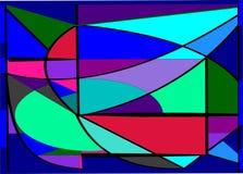 Composizione astratta, forme verdi porpora rosse su fondo blu Fotografie Stock