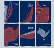 Composizione astratta Linea arte insieme di progettazione della copertura a4 Immagine Stock