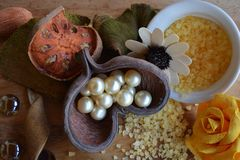 Composizione astratta, perle, fotografia dei fiori fotografia stock libera da diritti
