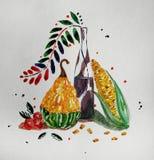 Composizione in autunno dell'acquerello con la zucca immagine stock libera da diritti
