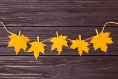 Composizione in autunno Mollette da bucato sulle foglie dorate di autunno della tenuta della corda su un fondo di legno fotografie stock libere da diritti