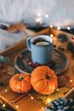 Composizione in autunno Tè e zucca caldi immagini stock libere da diritti