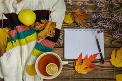 Composizione in autunno Tazza di tè, mela, foglie di autunno secche, maglione beige su fondo di legno immagine stock