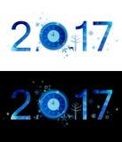 Composizione blu di inverno del numero Buon Natale e nuovo anno 2017 con l'orologio di festa, fiocchi di neve, progettazione deco Fotografia Stock