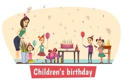 Composizione in celebrazione di compleanno illustrazione di stock