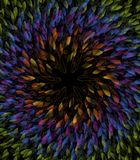 Composizione circolare delle foglie dell'estratto nei colori dell'arcobaleno Immagine Stock
