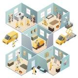 Composizione colorata pulizia industriale isometrica royalty illustrazione gratis